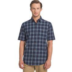 Big & Tall Arrow Plaid Button-Down Shirt, Blue (Navy)