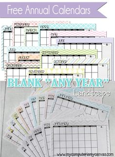 BLANK printable ANY YEAR Calendars:  Comes in multi-color, grayscale or plain #mycomputerismycanvas