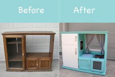 Cute play kitchen for kids.Love UP-CYCLING ....have seen so many of these cabinets in the landfill...what a fantastic idea!