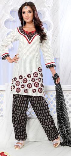 $55.72 Red Full Sleeve Cotton Short Punjabi Salwar Kameez 18699