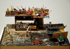 ... and he created a series of miniature artist's studios: