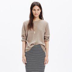 Simple and just a touch sporty, this waffle-stitch crewneck sweater is the perfect sweatshirt swap-in. <ul><li>True to size.</li><li>Viscose/nylon/merino wool/alpaca.</li><li>Hand wash.</li><li>Import.</li></ul>
