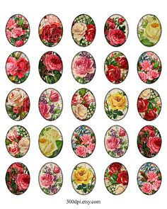 victorian roses 3x4 cm 30x40 mm oval images Printable by 300dpi
