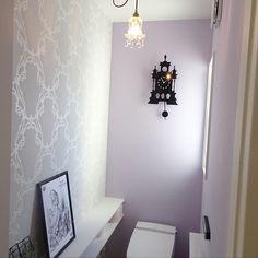アクセントクロス/ダマスク柄/トイレの壁/フレンチシック/不思議の国のアリス/注文住宅...などのインテリア実例 - 2018-01-13 13:14:09 Building A House, Toilet, Wall Lights, New Homes, Colours, Bathroom, Wallpaper, Interior, Design