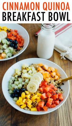 Serve quinoa for breakfast with this warm cinnamon quinoa breakfast bowl. Loaded with fresh fruit, cacao nibs and a maple syrup drizzle, this bowl is the perfect start to your day. Vegan and gluten-free. #quinoa #breakfast #bowl #healthy #recipe