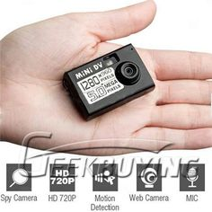 The World's smallest miniture DV Camera can attach to any keychain for extreme convenience. The camera is so small, no one will even believe it works so its a perfect toy for covert and spy fun. http://www.geekbuying.com/item/World-s-Smallest-Portable-HD-Mini-DV--Spy-Camera-DVR-with-Motion-Detector-302316.html  $14.29