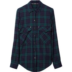 Zara Checked Shirt ($26) ❤ liked on Polyvore featuring tops, blouses, shirts, flannels, green, flannel shirt, blue flannel shirt, green shirt, green top and blue checkered shirt