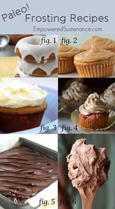 "Paleo frosting recipes, everything from ""cream cheese"" frosting to buttercream #food #paleo #glutenfree"