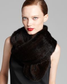 Maximilian Knitted Mink Infinity Scarf | Bloomingdale's