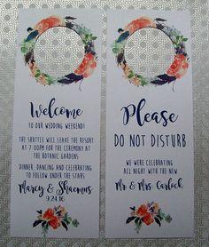 Hotel Door Hangers  RUSTIC BOHO Orange and Navy Blue  Double