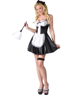 8751b88adc3276 Sexy French Maid w/ Hair Bow Costume - Sexy French Maid Costumes Kunstleder  Kleid,