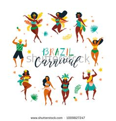 Set of brazilian samba dancers of the carnival in Rio de Janeiro. Vector illustration in retro flat style with carnival women and men. Design element for carnival concept. Illustrations, Illustration Art, Brazil Women, Brazil Brazil, Brazilian Samba, Brazil Carnival, World Festival, Men Design, Surf Art