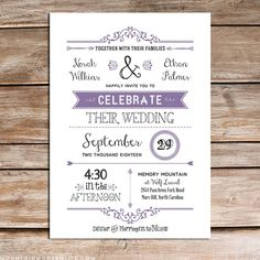 Printable DIY Lavender Wedding Invitation Template