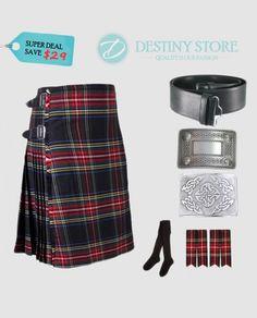 7454db2548f Black Stewart Tartan Economy Kilt Deal D-Store is offering Black Stewart  Kilt Deal contains