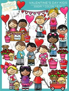 The Valentine's Day Kids clip art set is so much fun. This set contains 36 image files, which includes 18 color images and 18 black & white images in png and jpg. All images are 300dpi for better scaling and printing. $