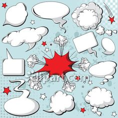 Comics style speech bubbles / balloons on yellow background. Free art print of Comics style speech bubbles. Bubble Balloons, Bubbles, Treasure Maps For Kids, Speech Balloon, Paper Pop, Free Art Prints, Clip Art, Comic Styles, Arte Pop