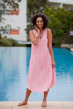Namastai Long Scoop Hem Dress - Womens Calf Length Dresses - Birdsnest Online Store
