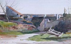 ■ HAWKINS, Louis Welden (French 1849-1910) - L'ENTRÉE DU VILLAGE. Aquarelle 19 x 30 ■ Луис Велден ХОУКИНС - Перед входом в деревню