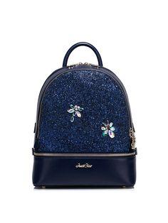 Dark Blue PU Sweet Zipper Backpack