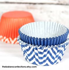 Blue+and+Orange+Chevron+and+Solid+Cupcake+by+thebakersconfections,+$6.49
