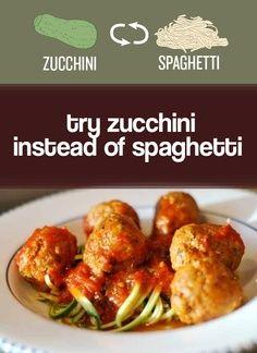 Peel zucchini into ribbons to make healthy veggie spaghetti.