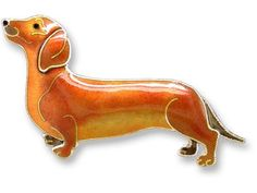 Dachshund Dog Sterling Silver & Enamel Pin Zarah. $34.99