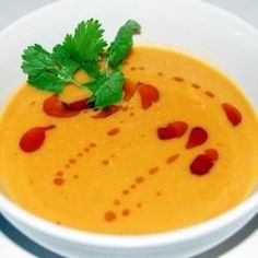 """Spicy Sweet Potato and Coconut Soup   """"Very good! And super easy to make! I preferred to blend the soup afterwards, and then added the cilantro. Mmmm nice and creamy!"""""""