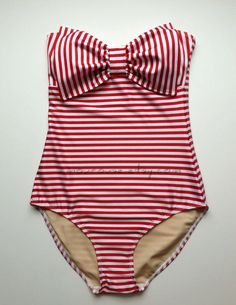 Striped Lycra Swim Fabric Tank Suit with Padding and by amourouse, $135.00