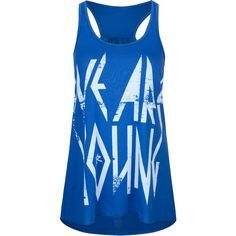 YOUNG & RECKLESS Metal Womens Tank (1,040 DOP) ❤ liked on Polyvore featuring tops, shirts, tank tops, tanks, blue, metal shirts, blue racerback tank, print tank top, racer back tank y blue tank top
