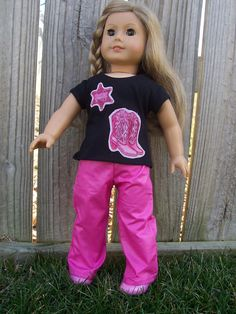 Hot Pink Cowgirl outfit for American Girl or by GiGisDollCreations, $14.99