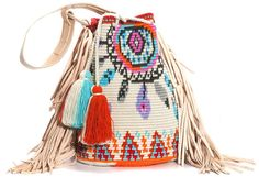 NEW ARRIVAL This one-of-a-kind DreamC Special Edition Boho Bag is tightly handwoven by one strand of Fine Cotton thread and has genuine leather details. Crochet Crafts, Crochet Projects, Knit Crochet, Crochet Handbags, Crochet Purses, Mochila Crochet, Tapestry Crochet Patterns, Tapestry Bag, Boho Bags
