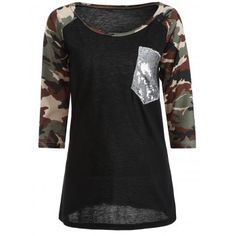 SHARE & Get it FREE | Camo Embellished Raglan Sleeve T-ShirtFor Fashion Lovers only:80,000+ Items·FREE SHIPPING Join Dresslily: Get YOUR $50 NOW!