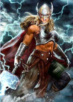 Marvel Comic Universe, Marvel Comics Art, Marvel Heroes, Female Comic Heroes, Female Thor, Thor Valkyrie, Hulk Art, Superhero Villains, Marvel Drawings