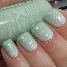 Subtle minty gradient using Sally Hansen- Mint Sorbet, Essie- Absolutely Shore and OPI- My Boyfriend Scales Walls & Pirouette My Whistle