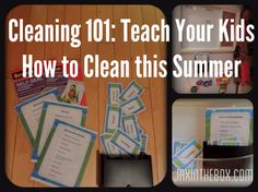 Easy method to teach kids how to clean (no strict routine, mostly short 10-20 minute tasks that get done throughout the week). Includes downloadable PDFs for printing the cards.