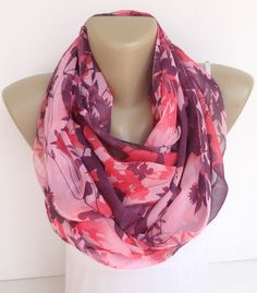 floral chiffon scarf infinity scarf women scarves circle scarf ,summer fashion accessories for her ,pink purple  gift ideas for mom on Etsy, $18.90