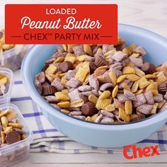 Loaded Peanut Butter Chex™ Party Mix has all of the delicious flavors your family loves! With NEW gluten-free Peanut Butter Chex, Muddy Buddies™ and chocolate-covered peanut butter cups, this mix is the perfect sweet treat for big crowds! Snack Mix Recipes, Dessert Recipes, Cooking Recipes, Dinner Recipes, Easy Summer Meals, Summer Recipes, Chex Party Mix, Crockpot, Gluten Free Peanut Butter