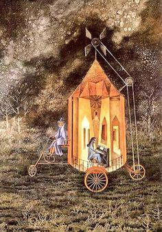 "Remedios Varo (#España 1908- #México 1963) #vanguardista #painting #twitart #surrealismo   ""Roulette"""