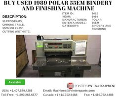 Printer's Parts & Equipment Offer used 1989 Polar Cutters/Guillotines Machine at worldwide. For more nformation, call us / Printer, Chrome, It Is Finished, Kitchen Appliances, Stuff To Buy, Kitchen Tools, Home Appliances, House Appliances, Kitchen Gadgets