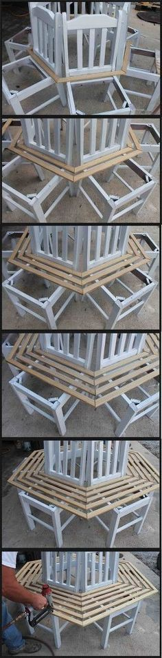 Ted's Woodworking Plans - tree bench made from kitchen chairs, diy, outdoor furniture, repurposing upcycling, woodworking projects - Get A Lifetime Of Project Ideas & Inspiration! Step By Step Woodworking Plans Woodworking Projects Diy, Woodworking Bench, Woodworking Equipment, Woodworking Techniques, Popular Woodworking, Repurposed Furniture, Diy Furniture, Furniture Plans, Furniture Projects
