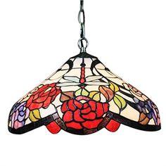 2 flammige Tiffany Pendelleuchte, Floral-Libelle gemusterter Schirm