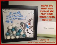 """Do You Want to Build a Snowman Shadow Box I got this from Debbie O'Neal.  She is awesome with paper crafting.  I hope she don't mind me """"scraplifting""""  I LOVE it and have got to make it for Lexi.  I plan to put Lexi's picture of her dressed in her Anna costume."""