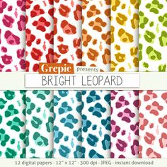 "Leopard digital paper: ""BRIGHT LEOPARD"" clip art rainbow colors, panther skin patterns, animal skin, animal print, safari bright colors #digitalpaper #scrapbooking"