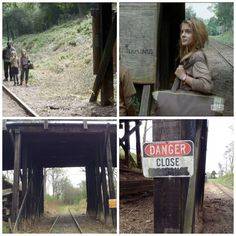 The walking Dead filming locations in Senoia Ga . Season 4 Carol,Tyreese and the