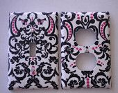 Black & White with Pink Damask Light Switch Plate Single Handmade Cover. $6.79, via Etsy.
