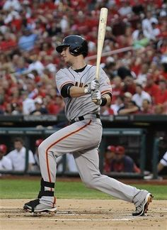 Buster Posey, hottest hitter in the NL, hits a single in the first inning against the Cardinals.  8/8/12