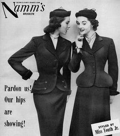 61c2724098e Vintage Suit Ad: Pencil Skirt on Left, A-Line Skirt on Right Pencil