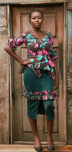 Bosede Ankara Blouse and Skirt/Trouser Pair. The Bosede Pair is made with African print/ankara that is vibrant. It features an handkerchief peplum and a ruched bubble sleeve that also have a cold shoulder detail. The Skirt is made with Neoprene/ Scuba which is a stretchy fabric and will therefore fit a variety of shapes. African fashion, African clothing, African dress styles, African print dress, African attire
