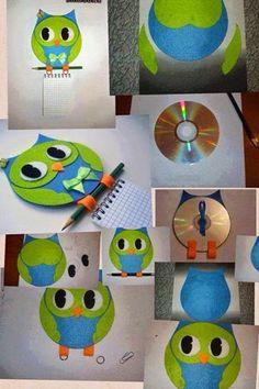 MENTŐÖTLET - kreáció, újrahasznosítás: CD-ből: BAGLYOS JEGYZETELŐ