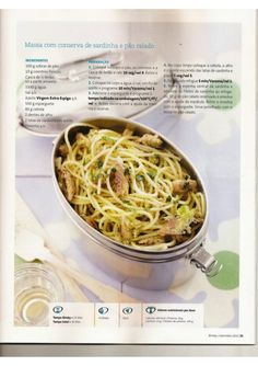 Revista bimby 2011.09 n10 Spaghetti, Ethnic Recipes, Food, Illustrated Recipe, Simple Recipes, Pickling, Fish, Ethnic Food, Journals